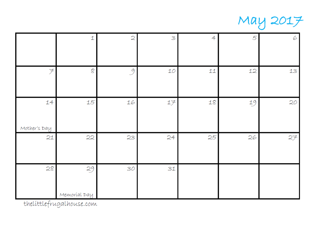 Use this FREE May 2017 Calendar Printable to organize your meal planning, work outs, blog schedule, or cleaning schedule.