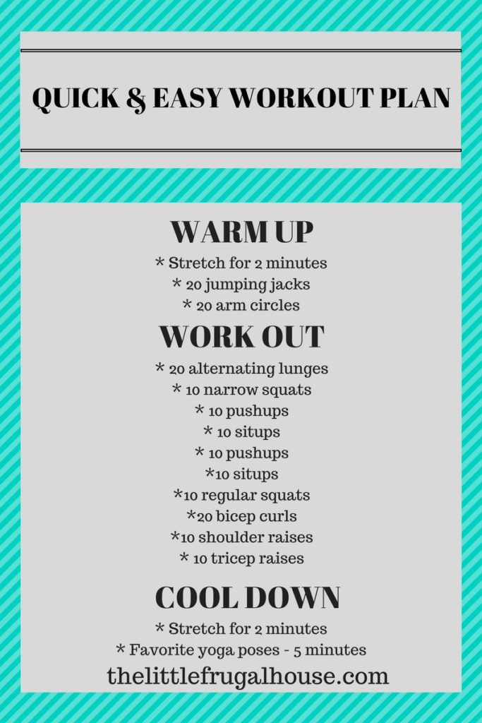 20 minute quick and easy free workout plan with free printable! All you need is a yoga mat and a set of 5 lb weights. Try this workout today!
