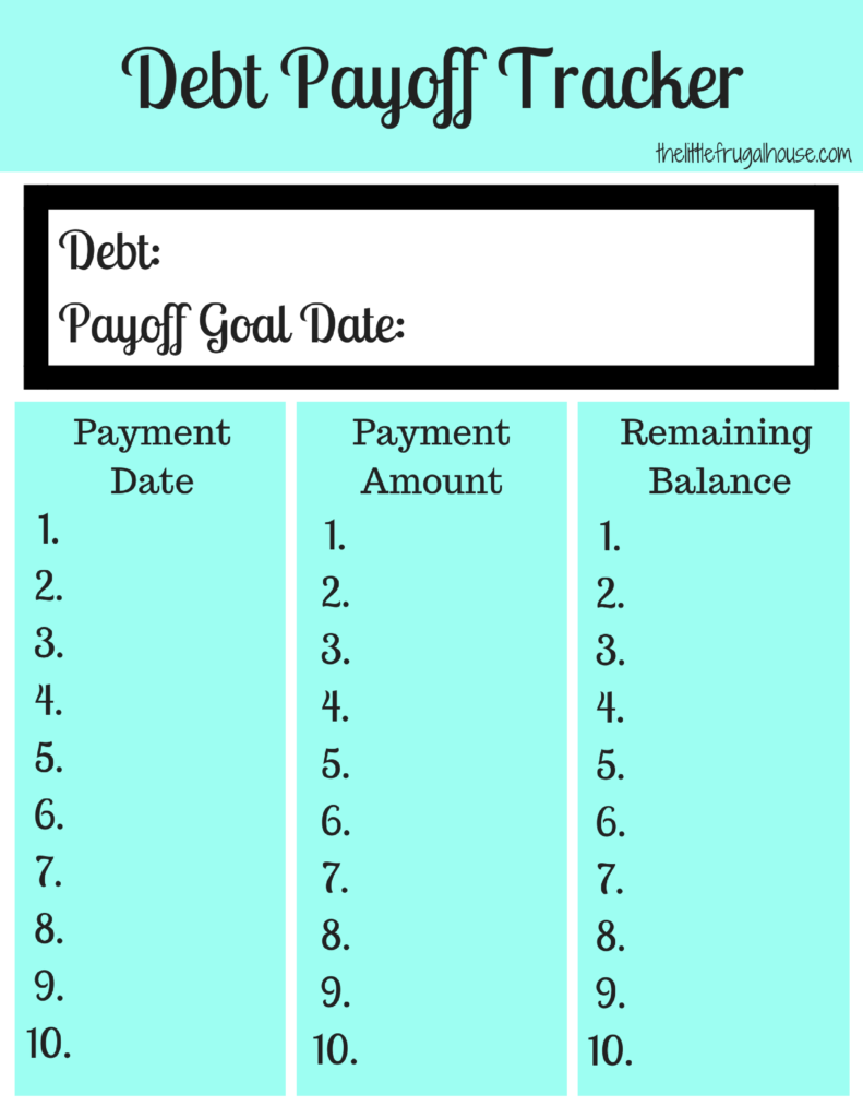 FREE Debt Payoff Tracker Printables - The Little Frugal House