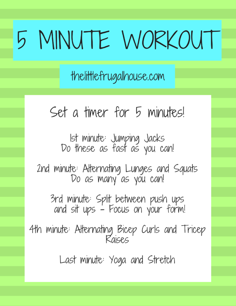 Don't have time to hit the gym or join a fitness classes? Do you have 5 minutes to spare? Try this 5 minute workout plan when 5 minutes is all you have!