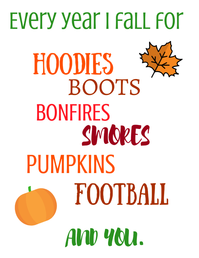 4 FREE fall printables to decorate for the fall season on a budget! Print 1 or all and decorate a mantle, a gallery wall, or simply frame one. Enjoy!