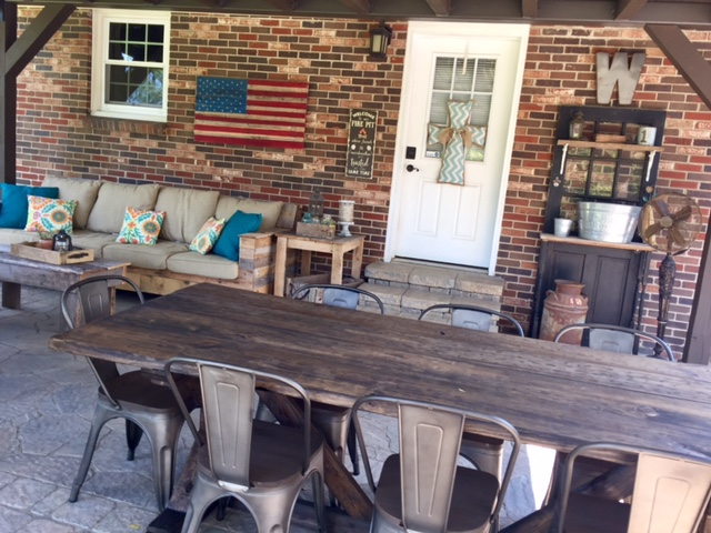 Decorate your outdoor space with frugal patio furniture and décor ideas from The Little Frugal House! DIY Furniture Builds, Yard Sale Finds, and More!