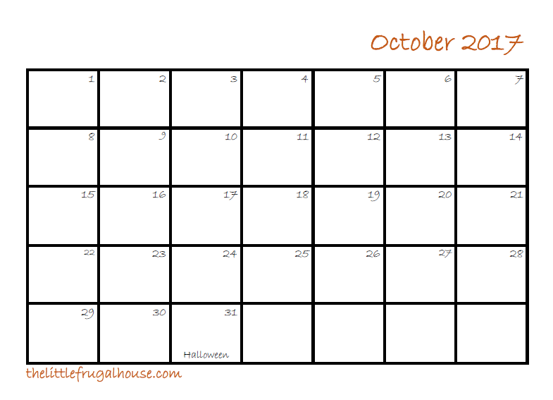 Use this FREE October Calendar Printable for meal planning, scheduling blog posts, organizing events, scheduling work outs, and date nights!