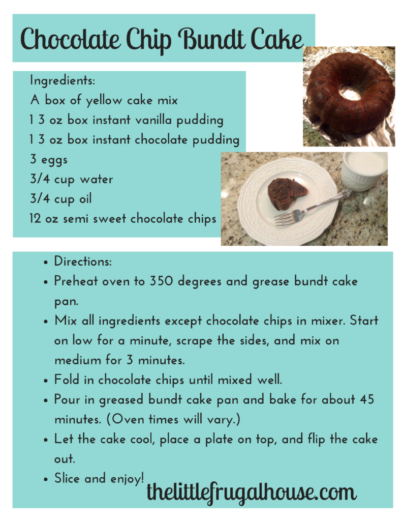 Looking for a super quick, easy and delicious recipe that won't cost a fortune? Give this chocolate chip bundt cake a try! Perfect for parties!