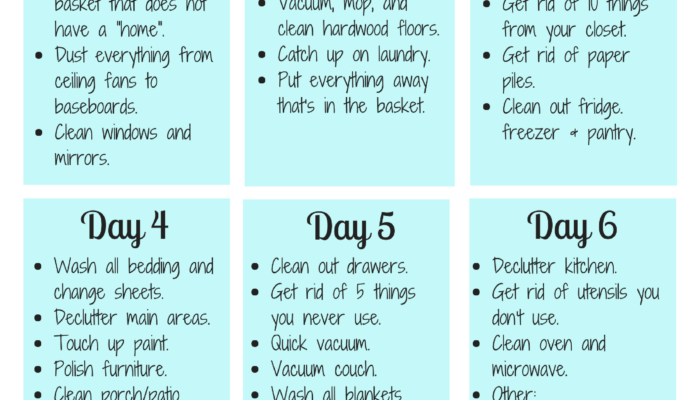 Weekly Cleaning Schedule – 6 Day Planner Printable