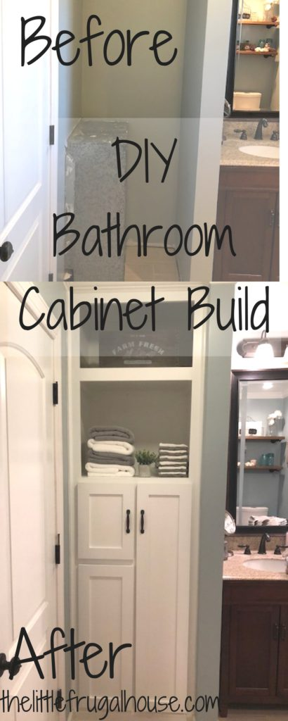 Do you have an awkward space in your home that you just don't know what to do with? This bathroom cabinet build creates beautiful storage in that space!