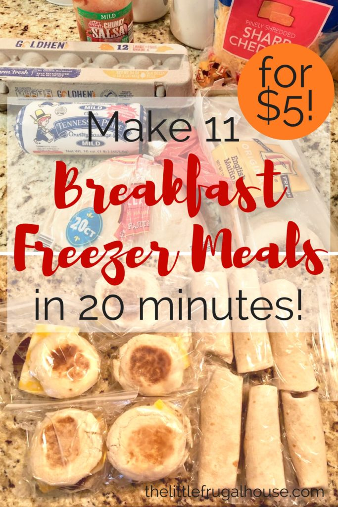 Make 11 Breakfast freezer meals in 20 minutes for about $5, while you're making breakfast already. This breakfast freezer cooking plan is a life saver!