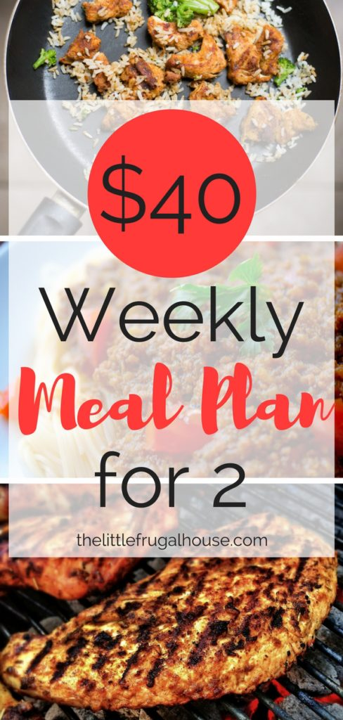 Looking to reduce your grocery budget and tired of spending money eating out? This $40 weekly meal plan for 2 includes 7 dinners with sides for about $5 per dinner!