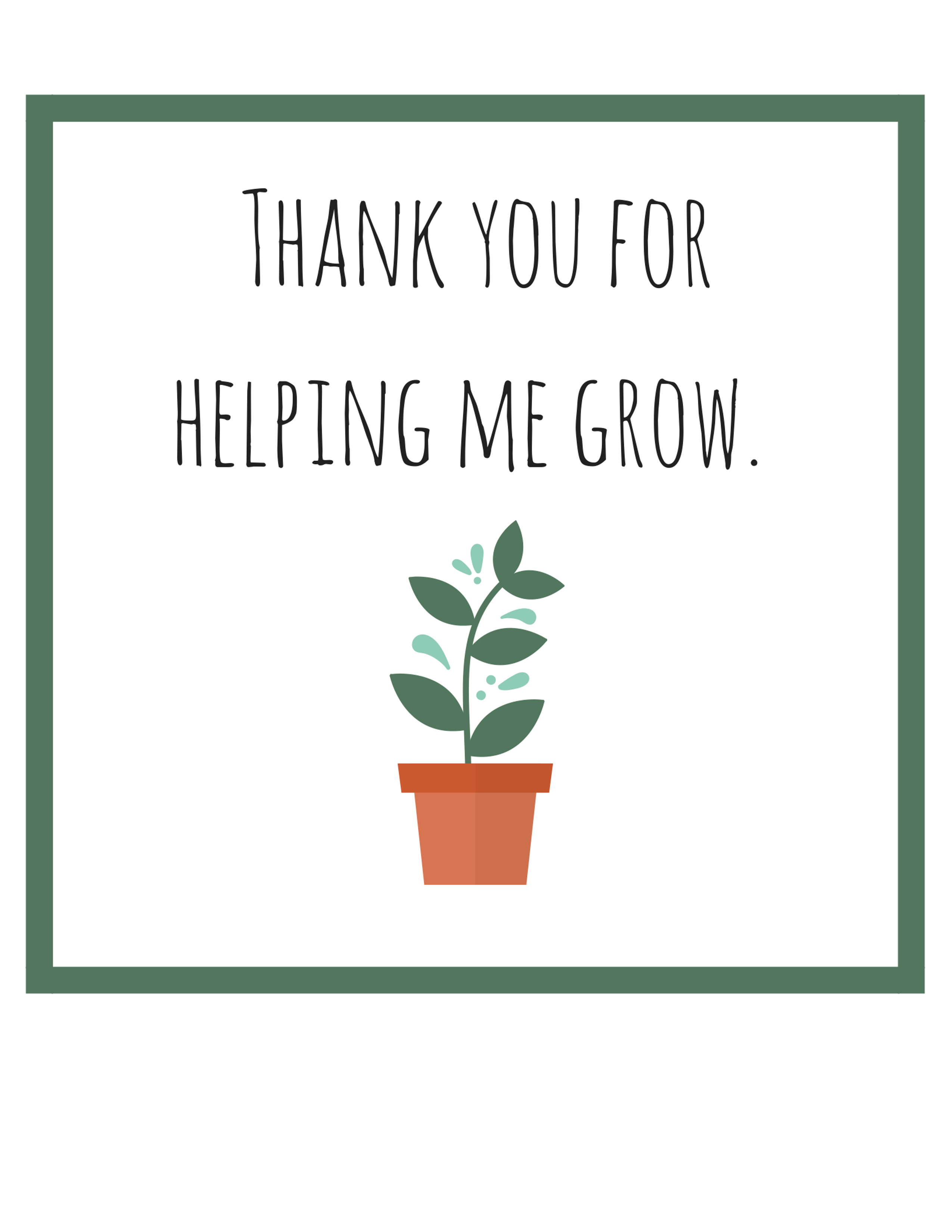 This is a picture of Monster Thanks for Helping Me Grow Free Printable