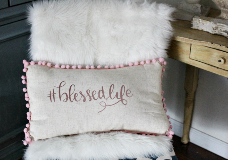 How-To-Make-A-Cricut-Vinyl-No-Sew-Pillow - The Little Frugal