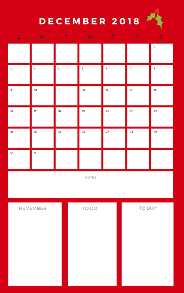 free december 2018 calendar printable