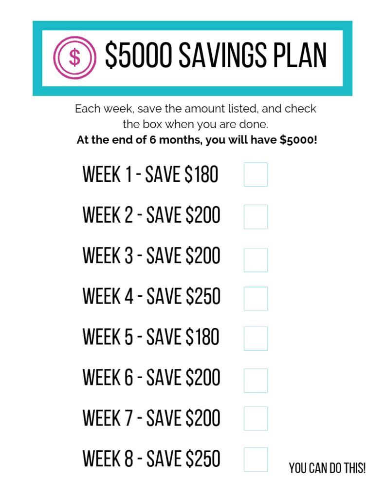 photograph relating to Savings Printable referred to as $5000 Cost savings Method Printable - The Minimal Frugal Place