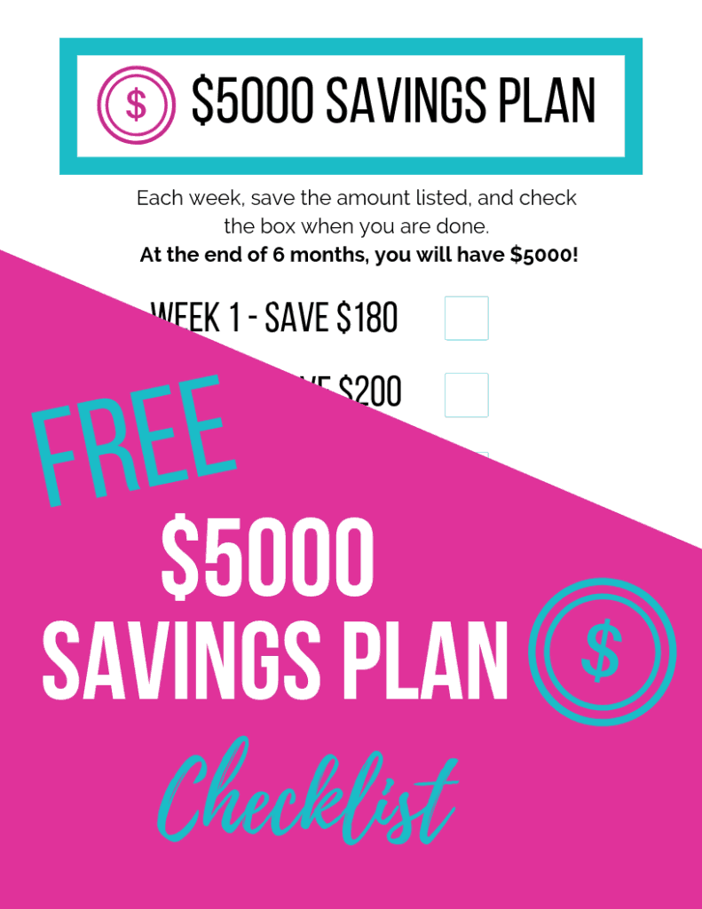 photo about Savings Printable identify $5000 Personal savings Software Printable - The Small Frugal Area