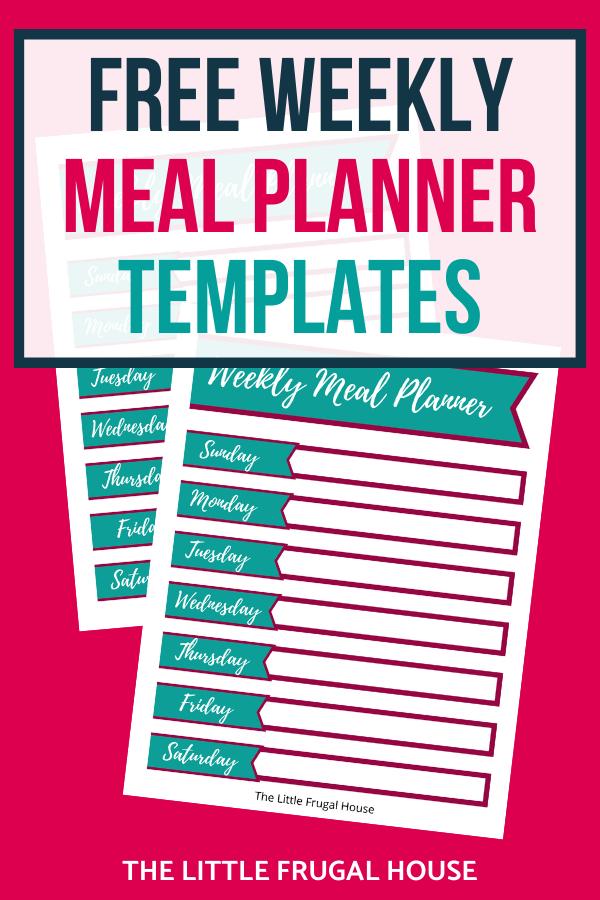 Utilice esta linda planificación de comidas imprimible para hacer su plan de comidas semanal.  Esta plantilla de planificación de comidas gratuita te ayudará a comer más en casa y ahorrar dinero.